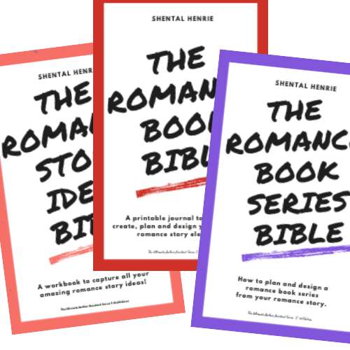 Graphic showing the Romance Story Ideas Bible, the Romance Book Bible and the Romance Book Series Bible. Bible that help you create the elements you need for your romance story!